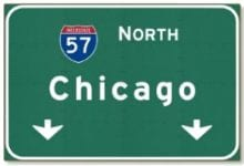 Chicago 57 North road sign