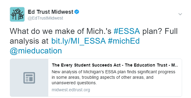What do we make of Mich.'s #ESSA plan? Full analysis at bit.ly/MI_ESSA #michEd @mieducation