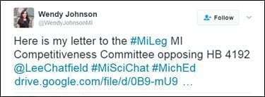 @WendyJohnsonMI: Here is my letter to the #MiLeg MI Competitiveness Committee opposing HB 4192 @LeeChatfield #MiSciChat #MichEd https://t.co/JZmmJn4uIK