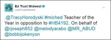 @EdTrustMidwest: .@TracyHorodyski #miched Teacher of the Year in opposition to #HB4192. On behalf of @rjoseph852 @melodyarabo @MR_ABUD @bobbijokenyon