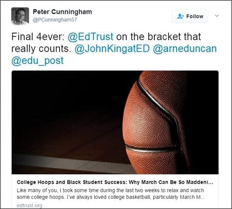 @PCunningham57: Final 4ever: @EdTrust on the bracket that really counts. @JohnKingatEd @arneduncan @edu_post [Link: https://midwest.edtrust.org/the-equity-line/college-hoops-black-student-success-march-can-maddening/]