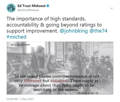 The importance of high standards, accountability & going beyond ratings to support improvement. @johnbking @the74 #miched